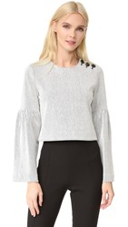 Tibi Bell Sleeve Ribbed Knit Top Ivory Multi