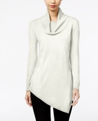 Ny Collection Cowl Neck Asymmetrical Tunic Sweater Winter White