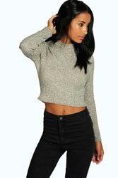 Boohoo Turtle Neck Long Sleeve Crop Jumper Khaki