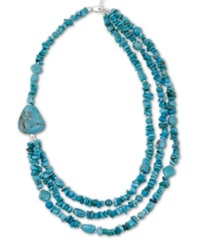 Avalonia Road Stabilized Turquoise Three Row Necklace In Sterling Silver