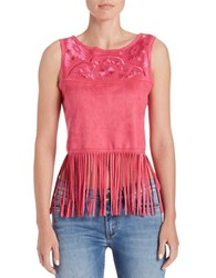 Buffalo David Bitton Embroidered Faux Suede Top Ultra Pink