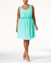 Love Squared Plus Size Lace Trim Chiffon Dress Mint