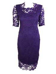 Feverfish Lace Scallop Dress Purple