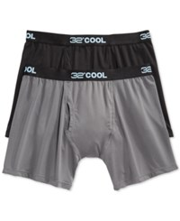 Weatherproof 32 Degrees Cool By Men's Boxer Briefs 2 Pack Black Charcoal