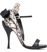 No 21 Bow Snakeskin And Leather Heeled Sandals Blk Other