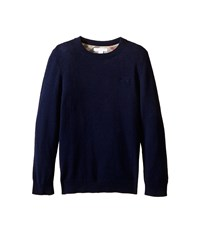 Burberry Long Sleeve Crew Neck With Check Elbow Patches Little Kids Big Kids Bright Navy Men's Long Sleeve Pullover