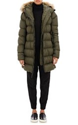 The North Face Quilted Tech Fabric Hooded Jacket Green
