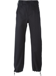Julien David Cropped Utility Trousers Blue