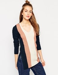Asos Tunic In Vertical Stripe Rib Knit With Side Splits And Extra Long Sleeves Multi
