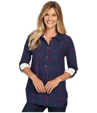 Hatley Bonded Plaid Pop Over Shirt Navy Burgundy Women's Clothing