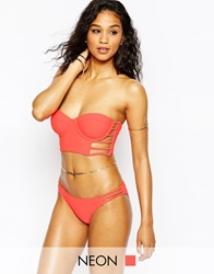 Missguided Caged Bustier Bikini Coral