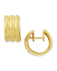 Elizabeth Locke 19K Gold Banded Hoop Earrings
