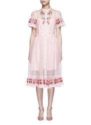 Temperley London 'Elette' Floral Embroidery Silk Organza Dress Pink