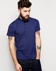 Peter Werth Polo Shirt With All Over Geo Print Navy