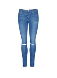 Topshop 'Leigh' Ripped Ankle Grazer Jeans Blue