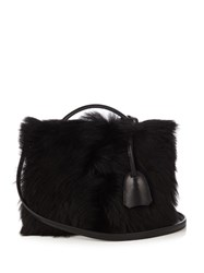Mark Cross Grace Small Shearling And Leather Box Bag Black