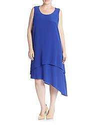 Eileen Fisher Plus Size Layered Silk Asymmetrical Dress Blue
