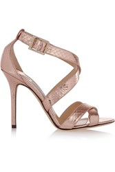 Jimmy Choo Lottie Metallic Elaphe Sandals Pink