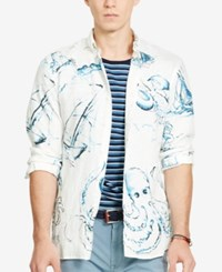 Polo Ralph Lauren Men's Nautical Sport Linen Shirt Painted Sea