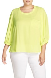 Melissa Mccarthy Seven7 Plus Size Women's Puff Sleeve Blouse Sunny Lime