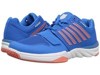 K Swiss X Court Brilliant Blue Living Coral White Women's Tennis Shoes