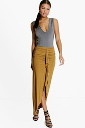 Boohoo Rouched Front Split Slinky Maxi Skirt Olive