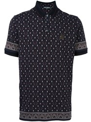 Dolce And Gabbana Printed Polo Shirt Black