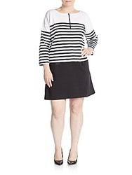 Joan Vass Plus Size Striped Drop Waist Shift Dress Black