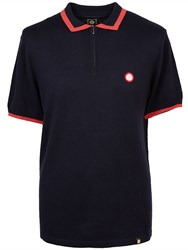 Pretty Green Lowry Zip Knitted Polo Navy