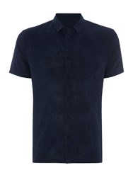 Label Lab Brisk Swirl Printed Linen Shirt Navy