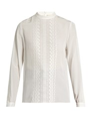 Vanessa Bruno Fes Stand Collar Embroidered Silk Blouse Ivory