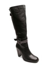 Two Lips Sleek Heeled Tall Boot Black
