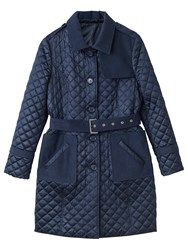 Precis Petite Erin Quilted Belted Trench Coat Navy