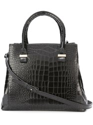Victoria Beckham Embossed Crocodile Effect Mini Tote Black