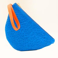 Freay Leather Half Moon Wristlet Pouch Blue