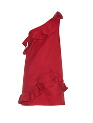 Msgm Ruffle Detail One Shoulder Faille Dress Red