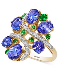 Le Vian Crazy Collection Tanzanite 3 3 4 Ct. T.W. Tsavorite 3 8 Ct. T.W. And Diamond 1 5 Ct. T.W. Cluster Ring In 14K Gold Multi