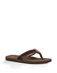 Ugg Borrego Suede Faux Fur Lined Thong Sandals Brown