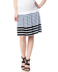 A Pea In The Pod Maternity Striped A Line Skirt Blue White Stripe
