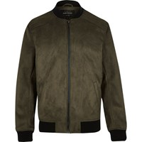 River Island Mens Green Faux Suede Bomber Jacket