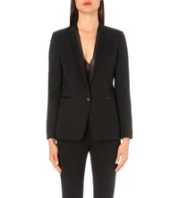 The Kooples Leather Trim Single Breasted Stretch Wool Jacket Black