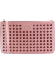 Tod's Wrist Strap Studded Clutch Pink And Purple