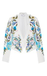 Zuhair Murad Embroidered Boxy Jacket With Stud Details White