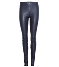 Helmut Lang Leather Trousers Blue