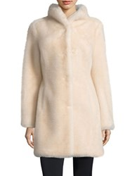 Eliza J Faux Fur Long Sleeve Coat White