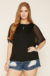 Forever 21 Plus Size Mesh Sleeve Top
