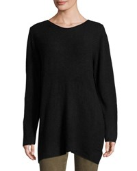 P. Luca Boatneck Ribbed Sweater Tunic Black