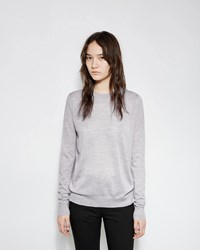 Proenza Schouler Superfine Merino Crewneck Sweater Pale Grey Melange