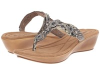 Minnetonka Boca Thong Ii Black Python Print Man Made Upper Women's Sandals