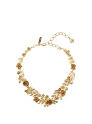 Oscar De La Renta Gold Plated Rose And Leaf Vine Necklace